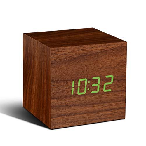 Gingko GK08G8 Würfel-Digitaluhr 'Click Clock' Walnuss mit grüner LED-Anzeige