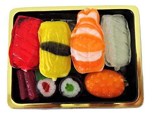 Candy Sushi Box mit 9 Sushibissen Amezaiku Candy 5 Arten von Nigiri Sushi 2 Sushirollen und 2 Beilagen - Spaß und einzigartige Bonbongeschenke Japanische Bonbons