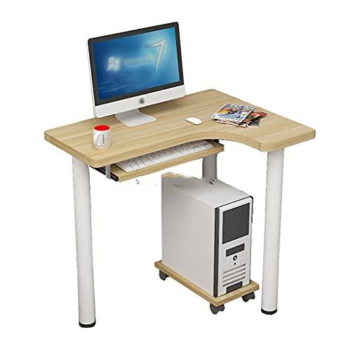 SHENXINCI Escritorio de Esquina en Forma de L para Ordenador Mostrador de Escritorio para Computadora con Bandeja para Teclado y Soporte para CPU,Color Madera,Los 80x60x74cm