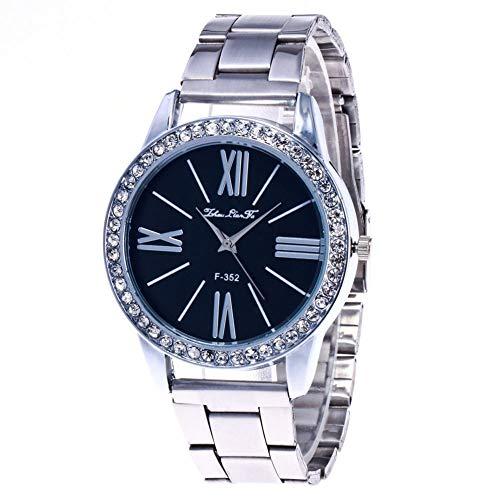 Reloj de Movimiento de Cuarzo de Metal Redondo de Cristal con Tachuelas de Diamante para Mujeres Banda Ajustable (Varios)