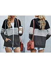 Aleumdr Ladies Long Sleeve Black Colorblock Zip-Up Hoodie Jacket Sweatshirt with Pockets Womens Oversized Baggy Comfy Hooded Coat Tunics UK Size 16 18 #3