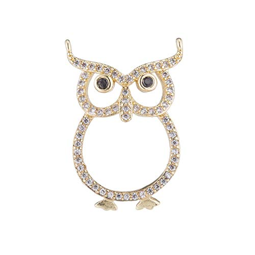 1pc Gold Owl Night Animal Life Smart Student Class Gift Cubic Zirconia Bracelet Necklace Pendant Charm Bead Bails Finding for Jewelry Making