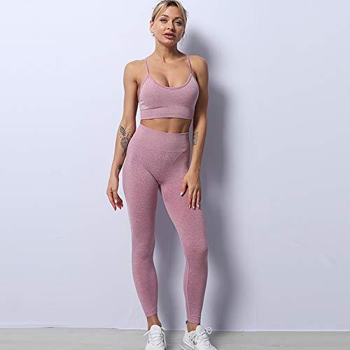 HongHe Conjuntos de Entrenamiento para Mujer Trajes de 2 Piezas Leggings de Yoga de Cintura Alta y Sujetador Deportivo Ropa de Gimnasio(M, Purple)
