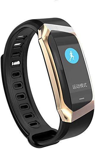 Reloj inteligente 0 96 pulgadas pantalla táctil grande llamada información recordatorio Bluetooth Deportes Salud Pulsera Oro Negro