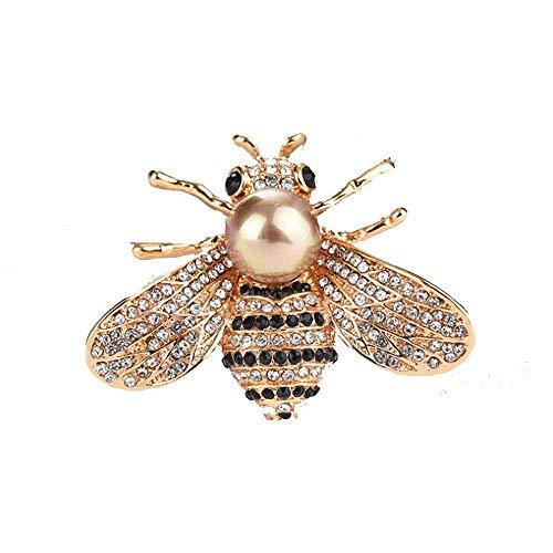 Spilla a forma di ape di miele con cristalli a tema di insetti e api, con perle e conchiglie, color oro e Lega, colore: Oro perla, cod. B010