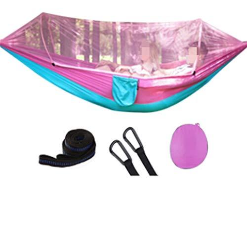 DJNCIA Hamaca al Aire Libre Mosquitera al Aire Libre Paracaída de paracaídas Portátil Camping Camping Colgando Cama para Dormir Swing de Alta Resistencia 250x120cm para Patio Yard Garden