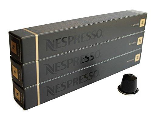 Nespresso - Cápsulas negras Ristretto, originales Nestlé, para café expreso, 30 unidades