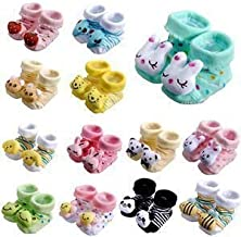 ShopCash Cute Cartoon Face Fancy Winter Booties Socks (Assorted, 0-3 Months) for Babies (Multicolor, Packs of 2)