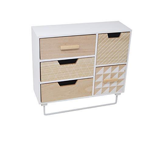 DRULINE Schubladenschrank Mini Kommode auf Standfuß Schubladen Kasten Holz Bunt Retro Beistellschrank Schreibtisch-Organizer 6 Teilig 5 Schubladen 4 L x B x H : 30 x 10 x 28.5 cm | Weiß-Natur