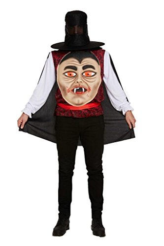 Halloween Vampire Jumbo Face Fancy Dress Costume With Hat, Belt & Cape -One Size