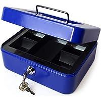 """iGadgitz Home U7172 Caja Fuerte Portatil Caja Metalica con Llave y Bandeja Portamonedas, Caja Seguridad, Caja de Efectivo -Azul -8"""" (20cm)"""