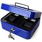 iGadgitz Home U7172 Caja Fuerte Portatil Caja Metalica con Llave y Bandeja Portamonedas, Caja Seguridad, Caja de Efectivo -Azul -8 (20cm)
