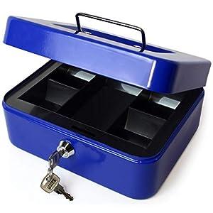 iGadgitz Home U7172 Caja Fuerte Portatil Caja Metalica con Llave y Bandeja Portamonedas, Caja Seguridad, Caja de Efectivo -Azul -8