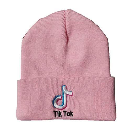 WANGIRL TIK Tok Doyin Bordado de Punto Sombrero Mujeres Hombres otoño e Invierno al Aire Libre Lana Sombrero cálido Sombrero de un tamaño LOLDF1 (Color : Pink)