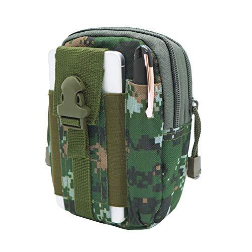 Cicilin - Riñonera táctica multiusos, bolsa EDC con correa, bolsa de nailon para acampada, senderismo, color verde camuflaje, tamaño small