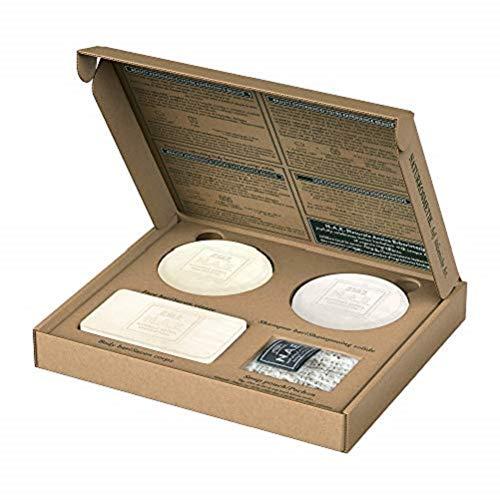 N.A.E. Naturale Antica Erboristeria Solid Box, Formula 100% Vegana, Biologica Certificata, Shampoo Riparazione 85 g, Saponetta Corpo Freschezza 100 g, Saponetta Viso Purezza 78 g, Custodia per Sapone