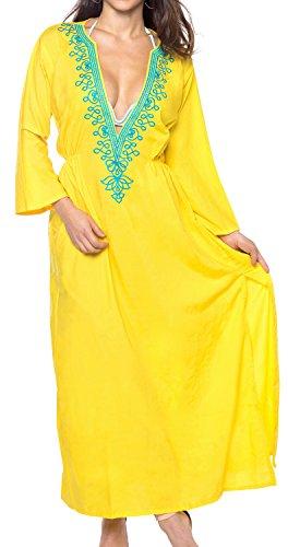 LA LEELA Vestido de la Playa de rayón Las Mujeres Bordadas Tapa hacia Arriba la Parte Superior túnica caftán Amarillo