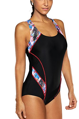 CharmLeaks Women 1 Piece Athletic Swimwear Chlorine Proof Active Swimsuit L Red