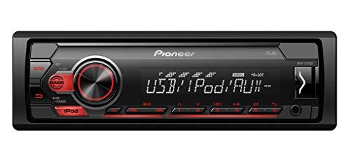 Pioneer MVH-S110UI | 1DIN Autoradio mit RDS | rot | halbe Einbautiefe | USB für MP3, WMA, WAV, FLAC | AUX-Eingang | Android-Unterstützung | iPhone-Steuerung | ARC App