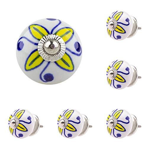 6 x Möbelknopf Möbelknauf Möbelgriff Nr 128 038JKGH gelb blau weiss Keramik Porzellan handbemalte Vintage Möbelknöpfe für Schrank, Schublade, Kommode, Tür - Jay Knopf