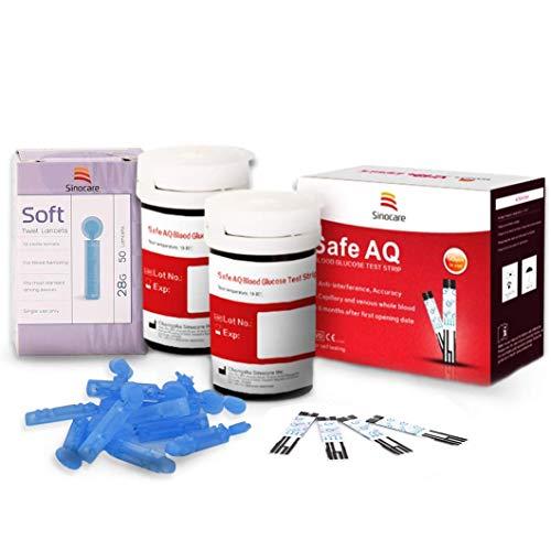 Breathalyzer Diabete-Blutzucker-Teststreifen X 50 & Diabetes-Lancetten X 50, Codefree-Teststreifen, Blut-Suger-Teststreifen für den sicheren AQ Smart/Voice nur