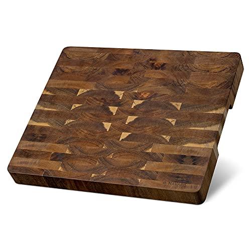 Navaris Tabla para cortar de madera - Tabla para cocina antideslizante - Accesorio para picar o servir carne vegetales quesos - 40 x 34 x 4 CM