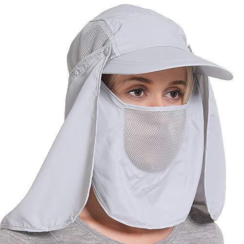 Pesca Caps Sombrero de sol plegable de protección UV Sombrero de sol de secado rápido al aire libre respirable extralargo con la protección del cuello gorra de béisbol contra los rayos UV plegable