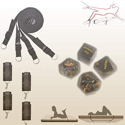 Kit de Accesorios de Nylon Webing Menottes para Hombre para Mujer + 4 Dados