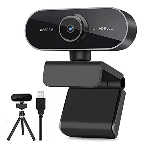 Webcam con Microfono, 1080P HD Webcam per PC, Laptop, Desktop, USB 2.0 Video Camera con treppiedi, Streaming Web Camera per YouTube, Skype, Videochiamate, Conferenza, Studio, Registrazione e Lavoro