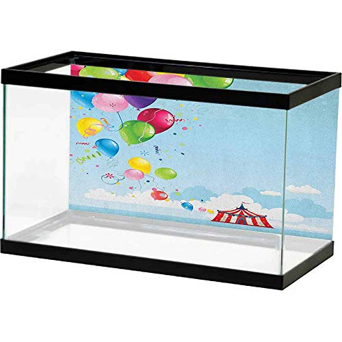 homecoco Paper Aquatic Underwater Circus,Circus Tent and Balloons Clouds Horizon Skyline Fantasy Party Fun Entertainment, Multicolor Undersea World