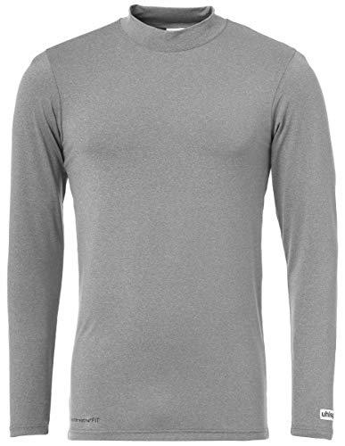 uhlsport Kinder Distinction Colors Langarm-Unterhemd, Dark Grey Melange, 116