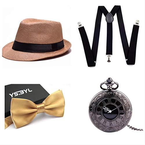 thematys® Cappello Gangster Mafia al Capone + Farfallino + Bretelle + Orologio da Taschino - Set Costumi Anni '20 per Donne e Uomini - Perfetto per Carnevale (4)