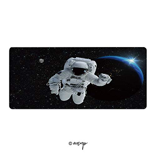 """Homenon Desk Pad Office Desktop Protector Astronaut Spaceman Outer Space People Planet Earth Moon Rubber Desk Mat Blotters Organizer with Comfortable Writing Surface 23.6"""" x 11.8"""" NO-53281"""