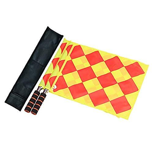 CHUER Schiedsrichter Flagge,Fußball Schiedsrichter Fahnen Linienrichter Fahne mit Schwammgriff Tragbar und Wasserdicht, 34 x 33cm (2 Stücke)