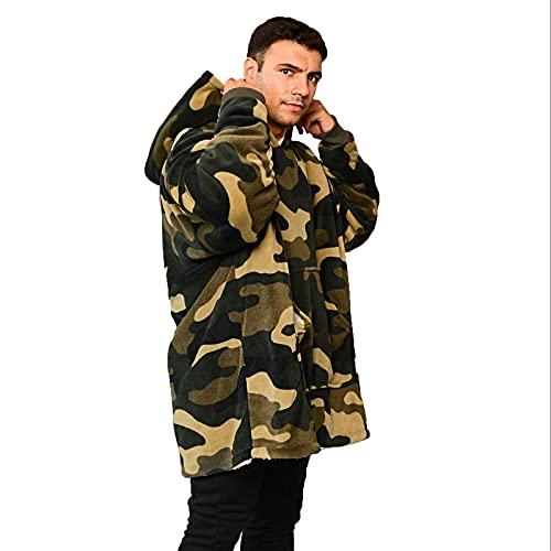 Dreamscene Camo Oversized Hoodie Blanket Ultra Soft Plush Sherpa Fleece Wearable Warm Hooded Throw Cosy Giant Sweatshirt - Green Khaki,One Size Fits All - Adults Kids Men Women