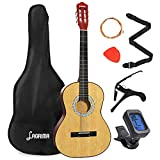 LAGRIMA 38 inch 4/4 Size Beginner Acoustic Guitar Set, Wood Acoustic Guitar Starter Kit with Gig Bag, Capo, Strap, Tuner, Picks & Steel Strings for Kids/Beginners/Adults (Natural)