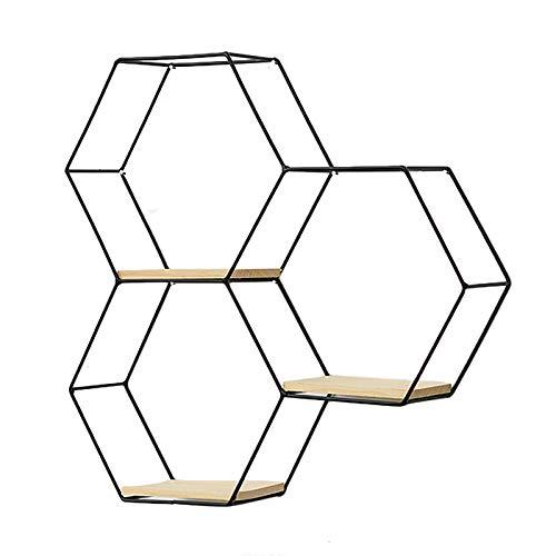 SWECOMZE Modern Wandregal aus Metall, Hexagon Schweberegal Küchenregal, Gold Schwarz Hängeregal Holz Dekorativ Schwimmregal Badregal Wand Deko für Badezimmer (3-Bienenwabe-Schwarz)