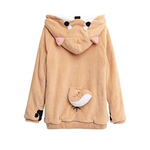 Unisex Anime Cosplay Hoody Cute Corgi Plush Adult Pajamas Coral Velvet Sweatshirt, Yellow-white, XX-Large