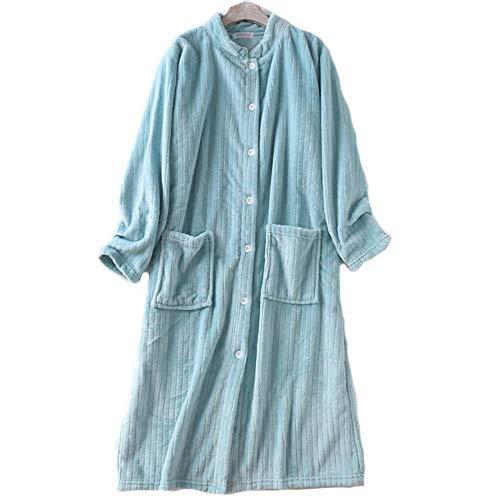 Vestido de Franela de Coral de Franela Suave, Bata de baño súper Larga y cálida para Mujer Bata de baño Kimono Batas, para Mujer Sexy XL A
