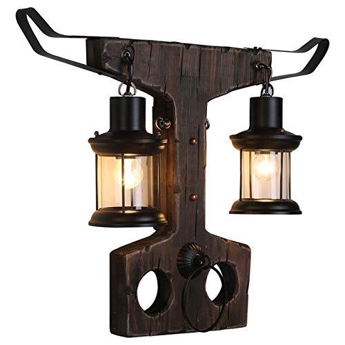 Wandlamp, binnen- en buitenverlichting klassieke LED wandlamp hout + metaal zwart