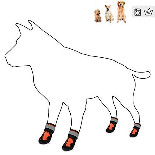 Huiit Impermeable Perro Zapatos Mascota Botas Protector De La Pata con Suela Antideslizante Correa Reflectante con Tirantes Ajustables Velcro,Naranja,2