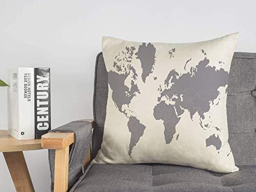 LREFON Doble Cojines Fundas 18' Geografía política África Mapa del país Mapa del Atlas Gris mundialPaíses Signos detallados Símbolos Funda Almohada Suave