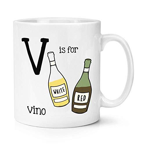 La Letra V Es para Vino Taza De Taza De 10 Oz Divertido Alfabeto-White_Box Packing