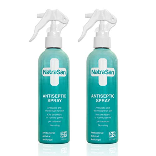 NatraSan Antiseptic Spray 250ml x 2 - Hypochlorous Acid Skin Antiseptic and Disinfectant, Hand sanitiser. Kills 99.9999% of Germs on Contact. Alcohol Free, Skin Friendly.