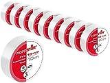 Poppstar - 10x 10m Cinta aislante universal (cinta de sellado de PVC - cinta adhesiva), para aislamiento - reparación de conductores eléctricos (18mm ancho), blanco