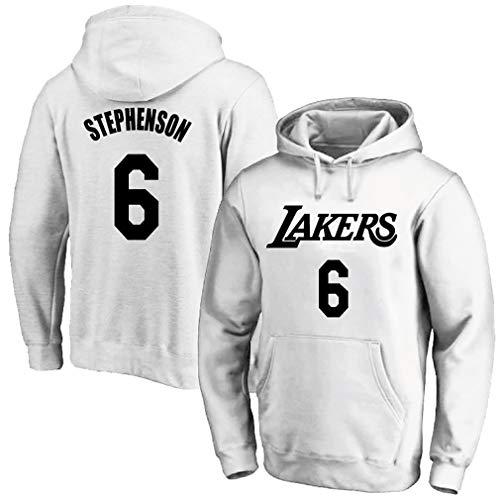 Herren Basketballuniform, Lakers Nr. 6 Stephenson Trikot, Plüsch Pullover Hoodie, Sport Hoodie,-White-M