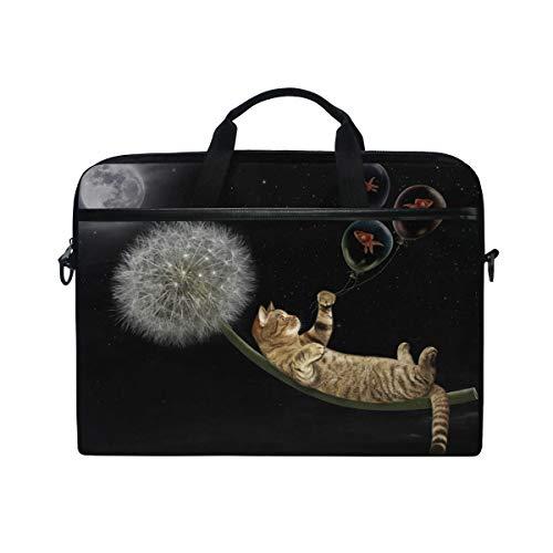 Funda para Ordenador portátil, diseño de Gato sobre Diente de león y Moscas en el Cielo Nocturno, 3 Capas con Cremallera Duradera para Lenovo HP MacBook Pro de Neopreno, Cuaderno 14 15 15,4 Pulgadas
