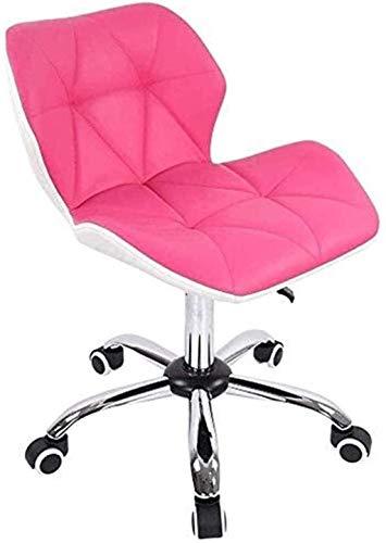 Silla de Oficina Silla de Escritorio de la computadora de Cuero de la PU de la PU de la Oficina Swivel Ajustable Sillón (Color : Pink, Size : Free Size)