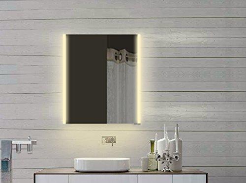 Lux-aqua Design LED Spiegelschrank mit Alu-Rahmen in Kalt/Warmweiß LLC60x70DP, Silber