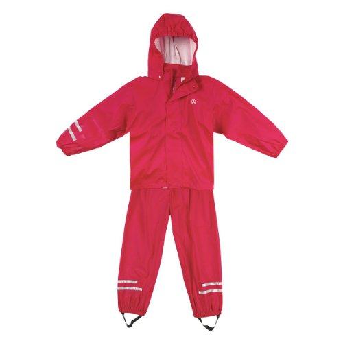 Elka Regenanzug Regenhose + Regenjacke für Kinder, gestreift 2 Farben viele Größen 220g/Polyester (86, Rot)
